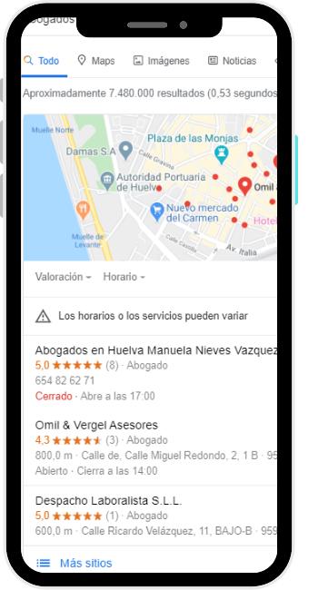busqueda abogados en Google en la ciudad de Huelva